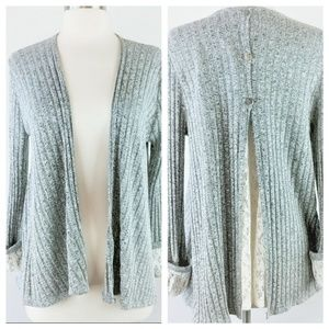 Alya Split Back Lace Detail Cardigan M
